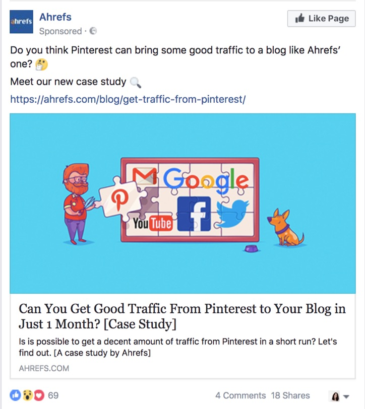ahrefs content offers on facebook ad