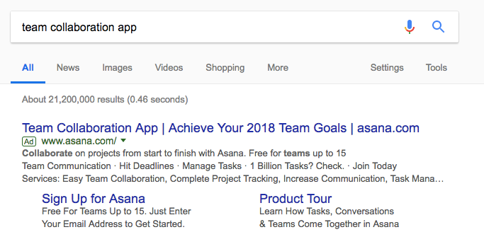 asana advertisement on AdWords