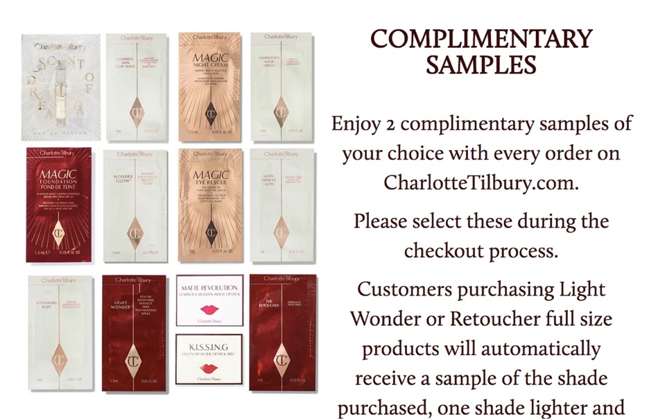 charlotte tilbury complimentary samples