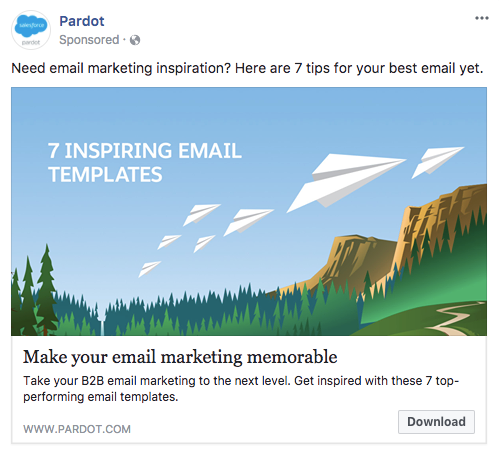 pardot inspiring email templates ad on facebook