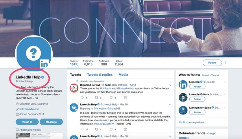 linkedin help twitter account