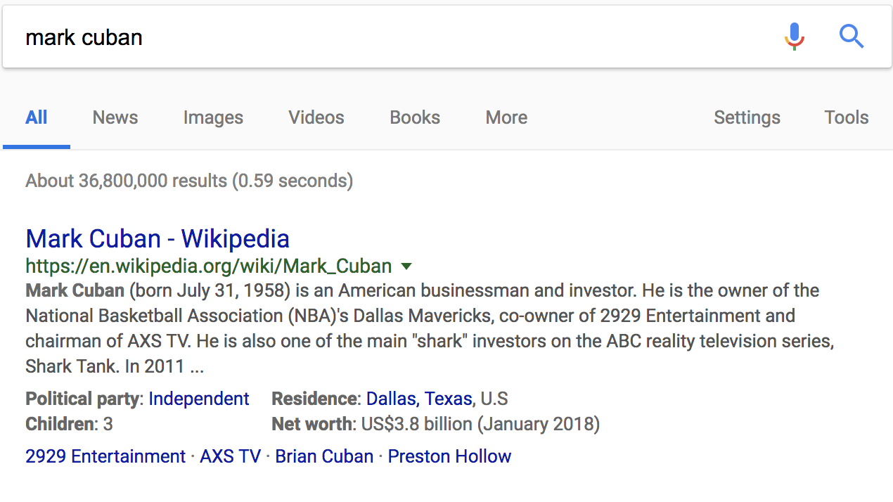 mark cuban search result