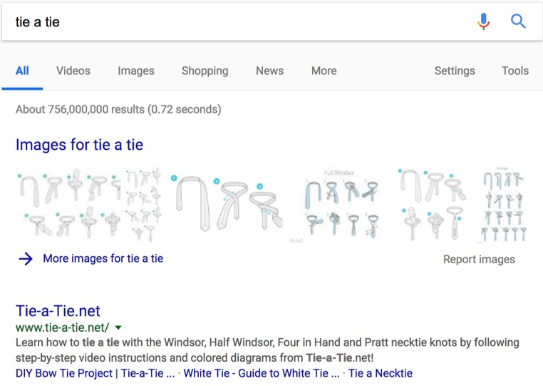 tie a tie google search rich snippet