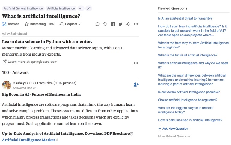 what is ai quora
