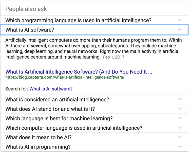 what is ai software google question