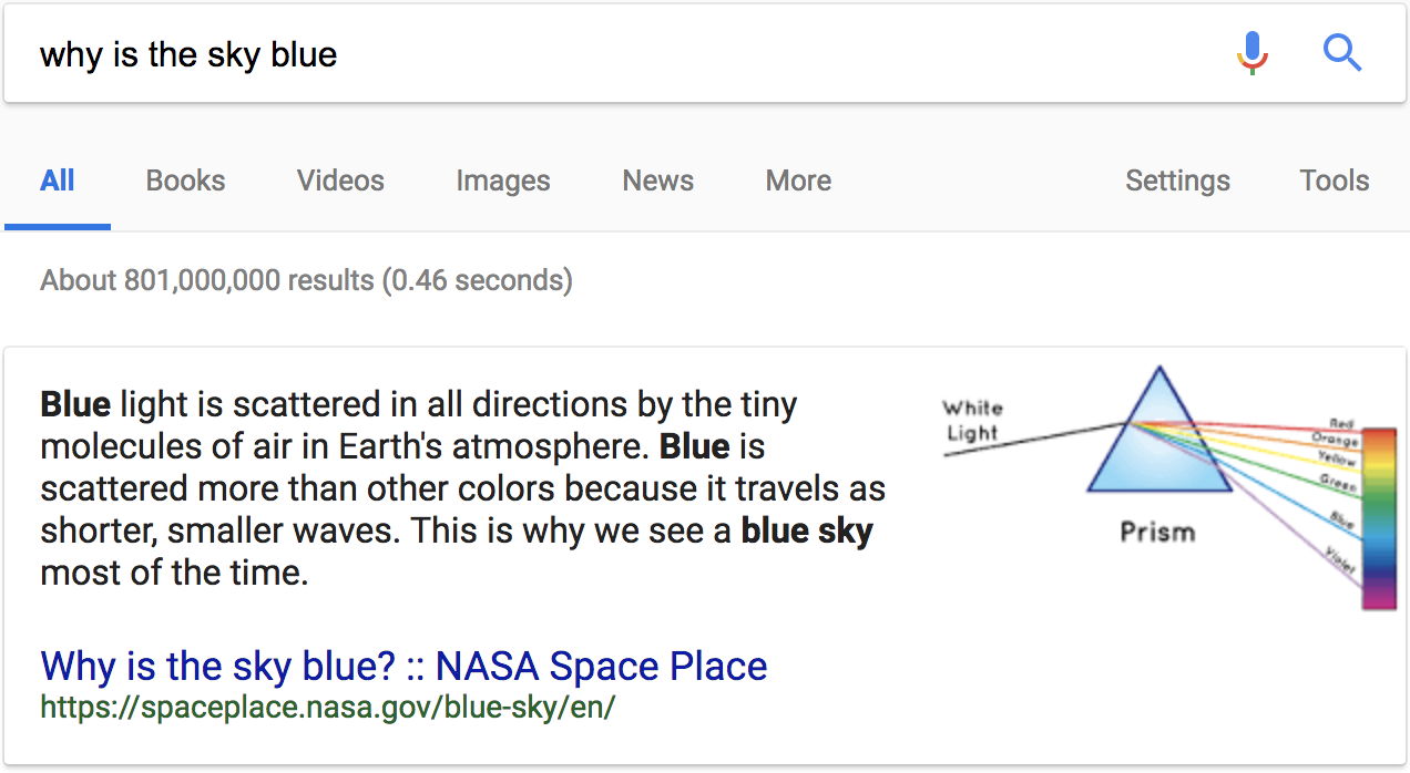 why is the sky blue google search results