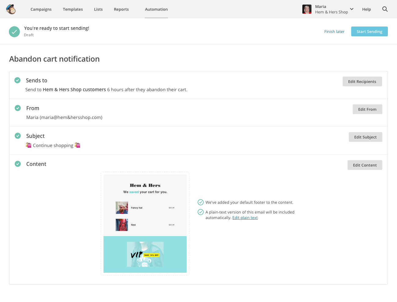abandon cart notification mailchimp