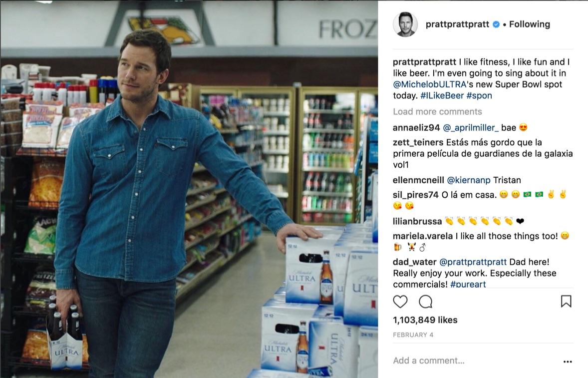 chris pratt sponsored instagram post